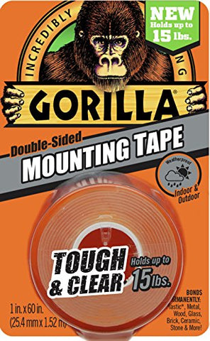 "Gorilla 6065001 Tough & Clear Mounting Tape, Double-Sided, 1"" x 60"", Clear"