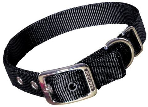 Hamilton Double Thick Nylon Deluxe Dog Collar, 1-Inch by 20-Inch, Black