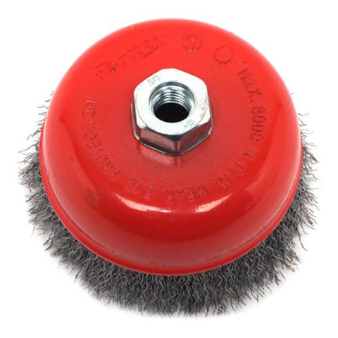 Forney 72754 Wire Cup Brush, Coarse Crimped with 5/8-Inch-11 Threaded Arbor, 5-Inch-by-.014-Inch