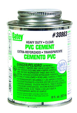 Oatey 30863 PVC Heavy Duty Cement, Clear, 8-Ounce