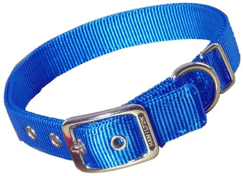 Hamilton Double Thick Nylon Deluxe Dog Collar, 1-Inch by 20-Inch, Blue