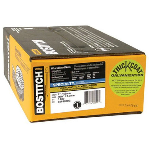 Bostitch C6P90BDG Thickcoat Round Head 2-Inch by .090-Inch 15 Degree Coil Framing Nail (3,600 per Box)
