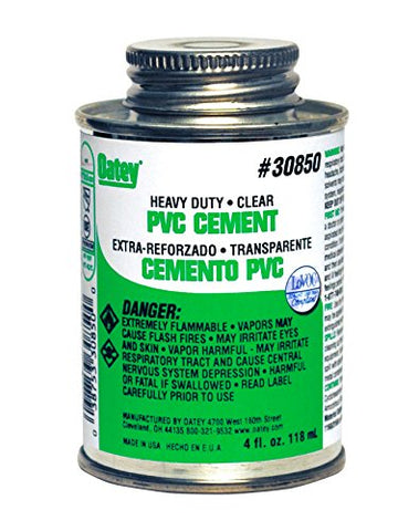 Oatey 30850 PVC Heavy Duty Cement, Clear, 4-Ounce