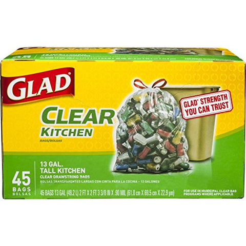 Glad Recycling Tall Drawstring Kitchen Clear Trash Bags - 13 Gallon - 45 Count (Packaging May Vary)