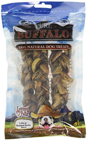 Loving Pets Pure Buffalo 6-Inch Braided Bully Stick Dog Treat, 3-Pack
