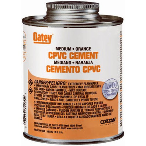 Oatey 31129 CPVC Medium Orange Cement, 8-Ounce