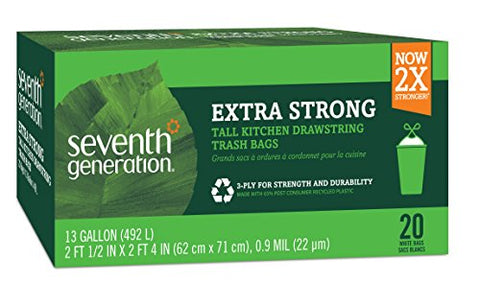 Seventh Generation Drawstring Kitchen Trash Bags, 20 Count
