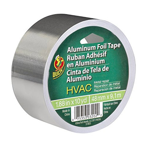 Duck Brand 280416 HVAC UL 723 Metal Repair Aluminum Foil Tape, 1.88-Inch by 10 Yards, Single Roll, Silver