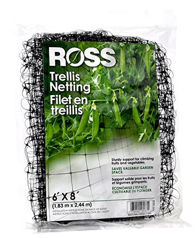 Ross Trellis Netting (Support for Climbing, Fruits, Vegetables and Flowers) Black Garden Netting, 6 feet x 8 feet