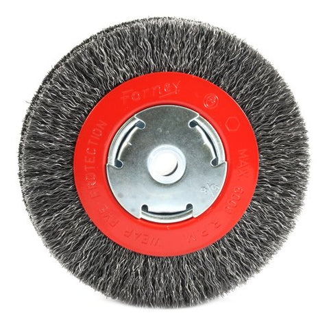 Forney 72752 Wire Bench Wheel Brush, Wide Face Coarse Crimped with 1/2-Inch and 5/8-Inch Arbor, 6-Inch-by-.014-Inch