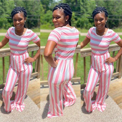Striped Jumpsuit Pink