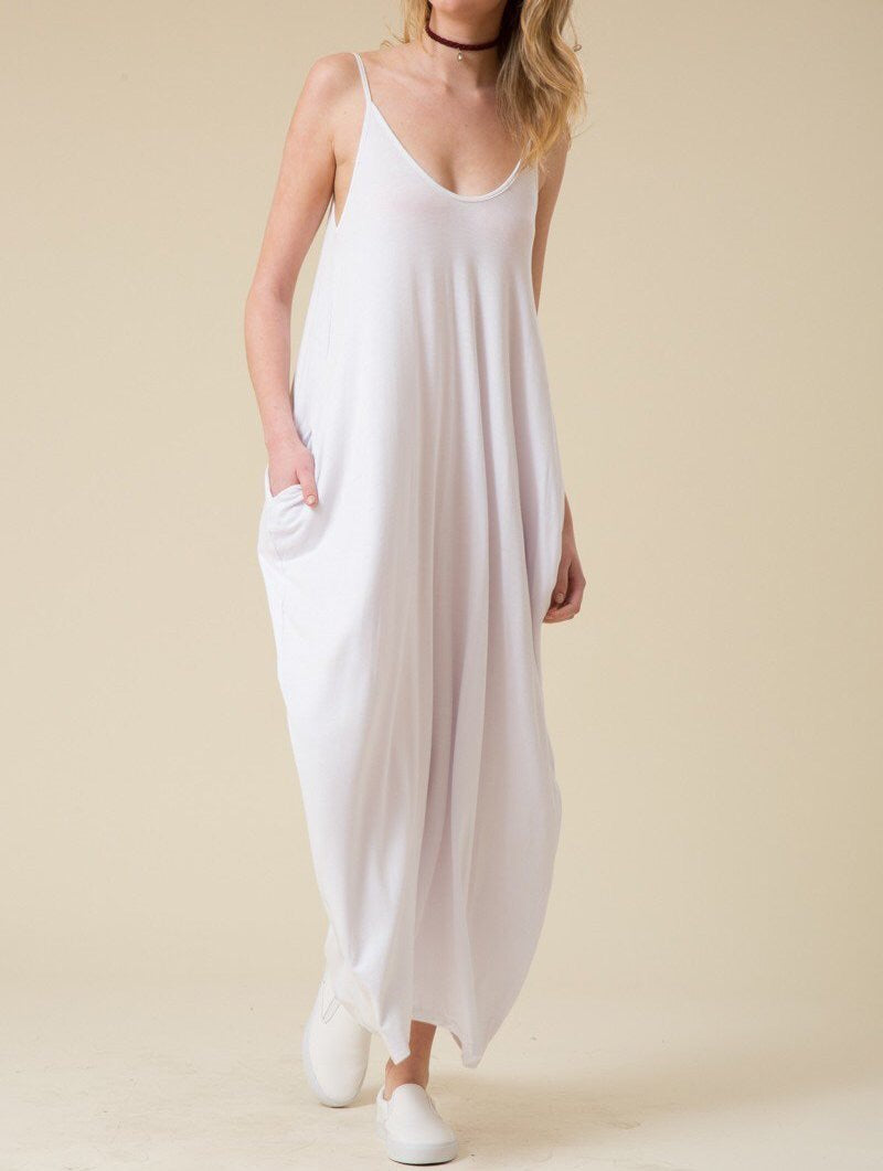 White Maxi Dress w/ Pockets
