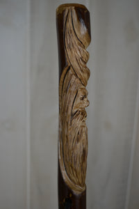 Wood Walking Stick with Wood Spirit Carving in Sweet gum