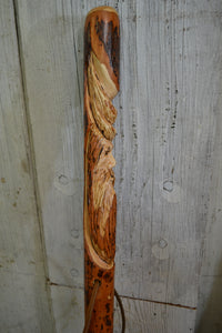 Wood Spirit Walking Stick, Hickory Hiking Staff with Woodspirit Carving