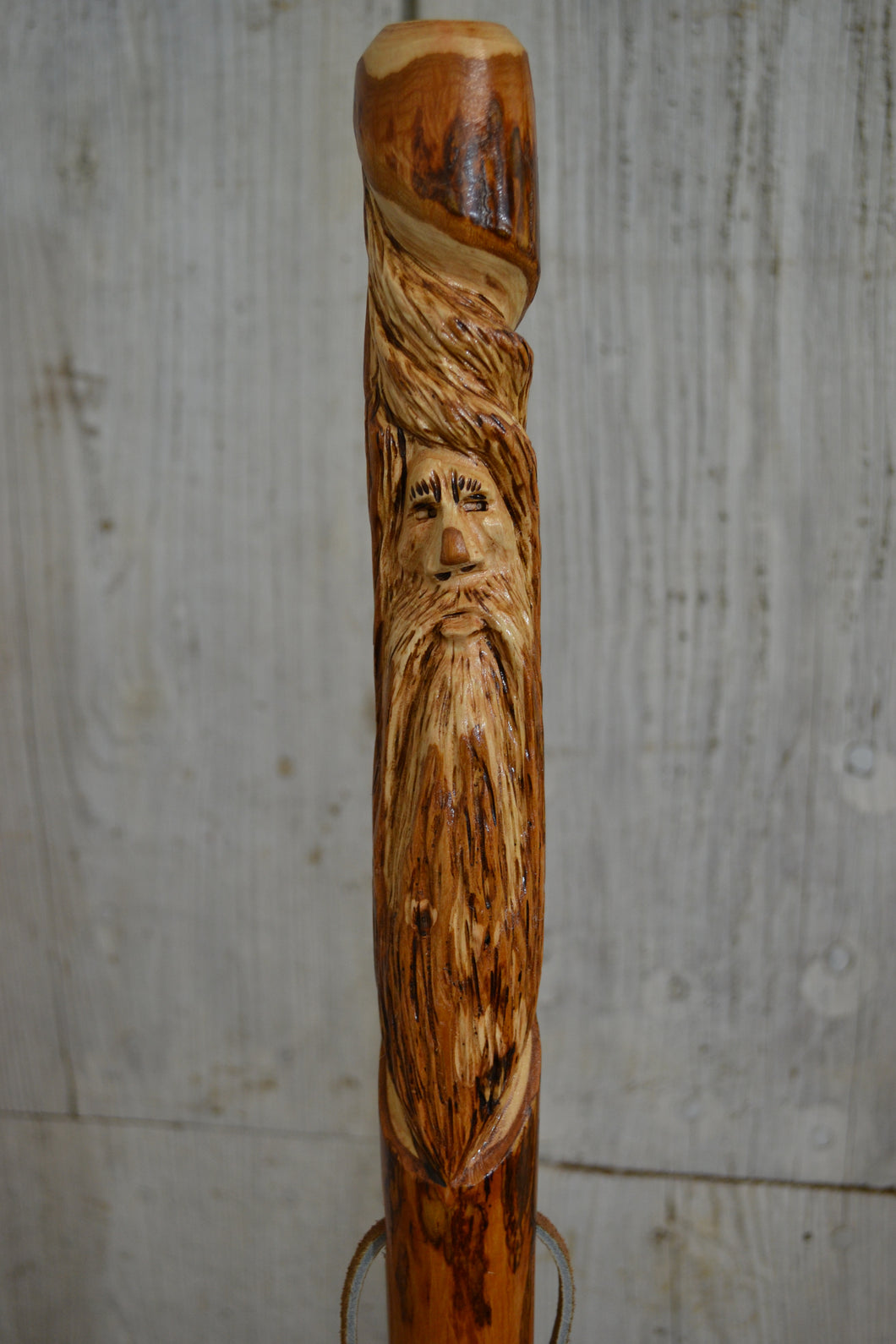 Wood Spirit Walking Stick Carving