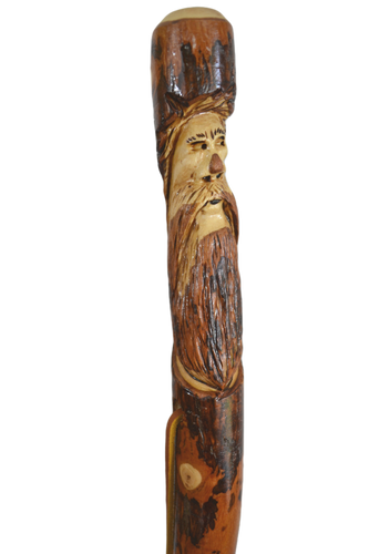 Hickory Walking Stick with Mountain Man Carving