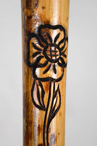Flower and Vine Carving on Walking Stick, Staff, Hand Carved Elm Wood, Kiln Dried, Natural Hiking Stick, Custom Size, You Choose Size
