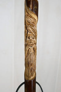 "Wood Spirit Carving on Hiking Stick in sweet gum, Walking Stick,  Functional Art, 54"" Staff"