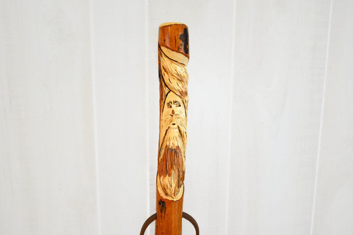 Walking Stick - Hand-Carved Wood Spirit - Hickory - Strong - Face Carving on Staff - Hiking Stick - Custom Height up to 60