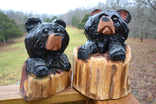 Chainsaw Carving of Bear - Black Bear - Cedar Log Carved - Cute Faced Bear - Chainsaw Art - Indoor and Outdoor Art