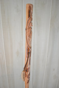 "Hand Carved Walking Stick, Wood Spirit, Dogwood Hiking Stick, 60"" Ren faire, Whimsical Carving on Staff #3204"