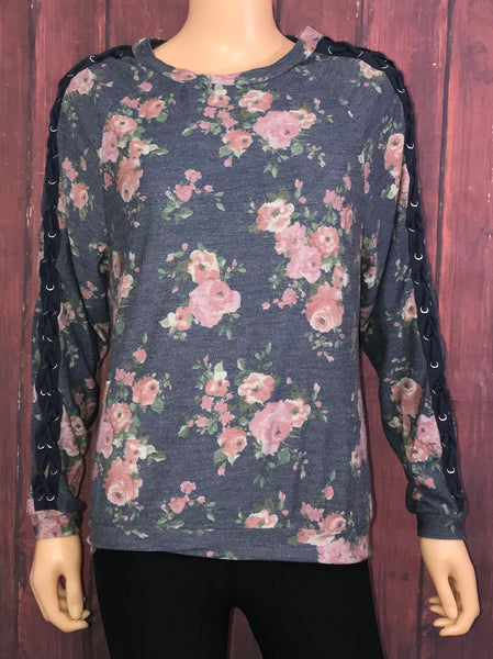 Floral Top with Rope Up Sleeves
