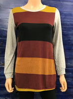 Fall Color Block Hi-Lo Top