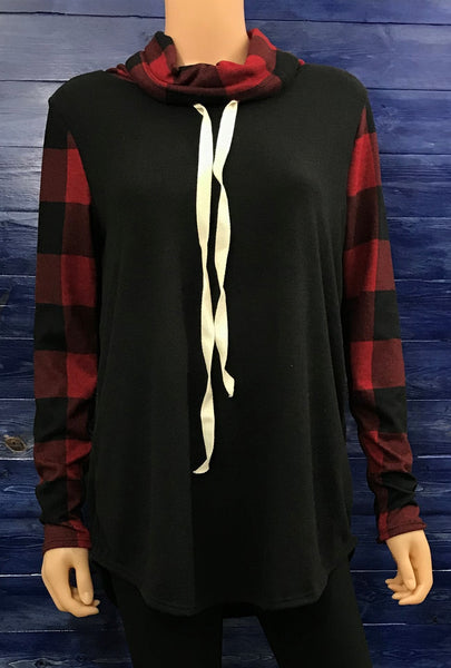 Plaid Cowl Tunic