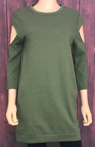 Olive Cold Shoulder Sweatshirt with Pockets