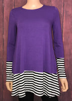 Medium Purple Top with Striped Hem