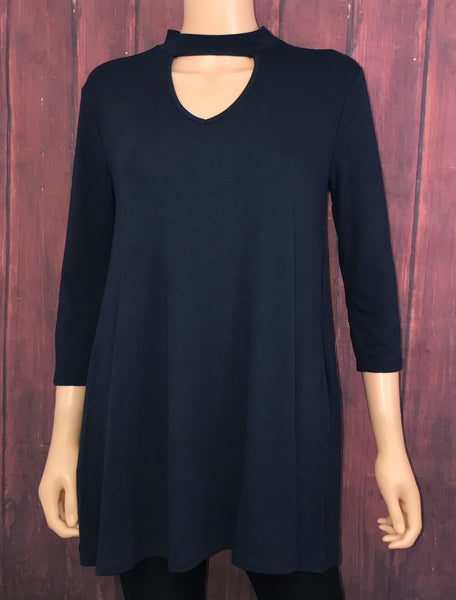 Navy Key Hole Tunic