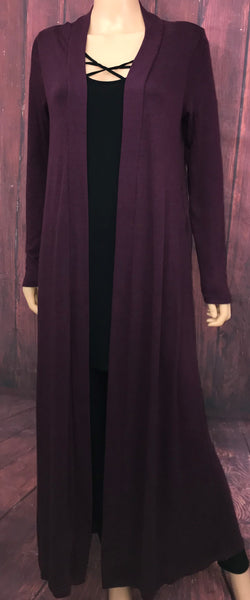 Plum Duster Cardigan with Pockets