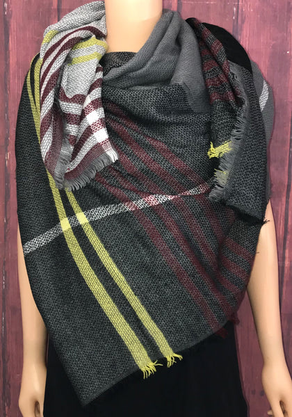 Gray & Burgundy Blanket Scarf