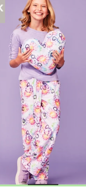 Heart Tie Dye Plush Lounge Pants