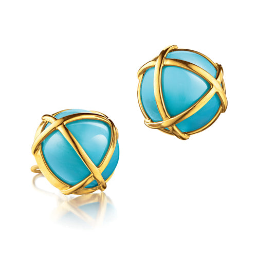 Verdura-Jewelry-Caged-Earclips-Gold-Turquoise