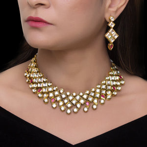 Royal Gold Plated Polki Set with Meenakari work - The Pink Lane