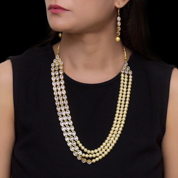 Sparkling Kundan and Pearl Studded Multistring Necklace - The Pink Lane
