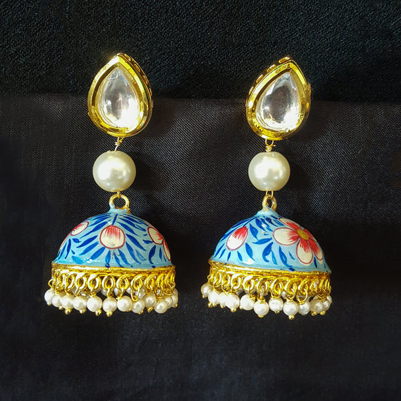 Traditional Blue Jhumki with Kundan and Pearls