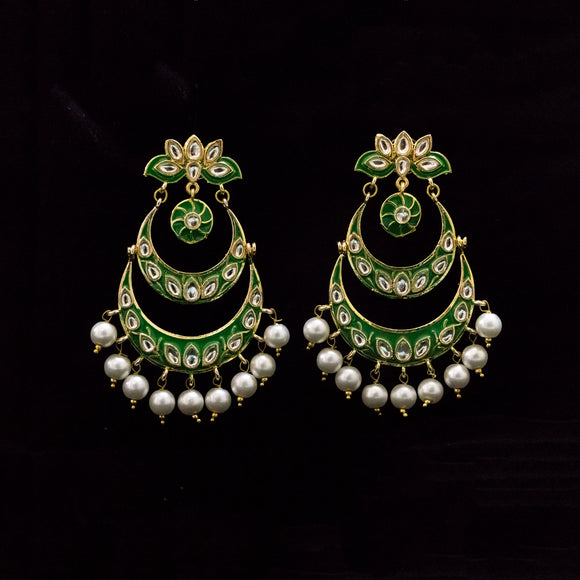 Traditional Earrings with Meenakari work - The Pink Lane