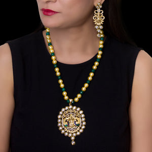 Gold Plated Kundan Studded Goddess Pendant with Beaded Necklace - The Pink Lane