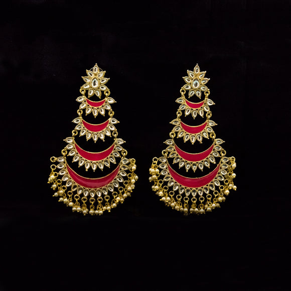 Gold Plated Traditional Party Wear Earrings for Women - The Pink Lane