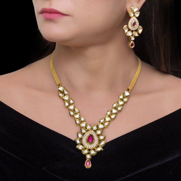 Elegant Gold Plated Polki Set with Meenakari Work - The Pink Lane