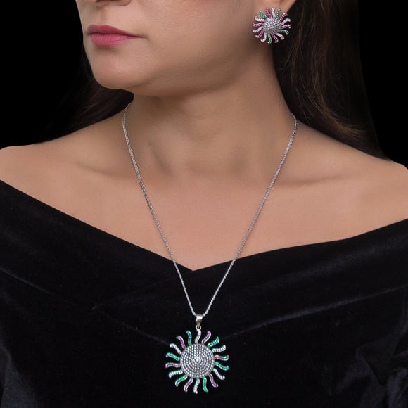 Sun Shaped Pendant set for women - The Pink Lane