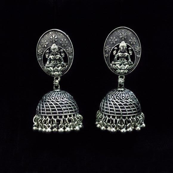 Designer German Silver Goddess Earrings - The Pink Lane