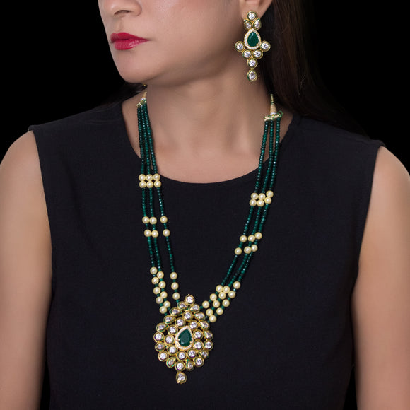 Royal Multistring Green Beaded Necklace with Kundan Pendant - The Pink Lane