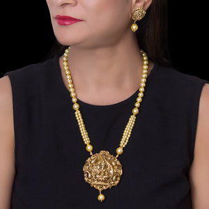 Gold Plated Ganesha Pendant with Pearl string Necklace - The Pink Lane