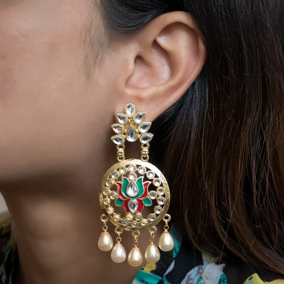 Gold Plated Kundan Earrings - The Pink Lane