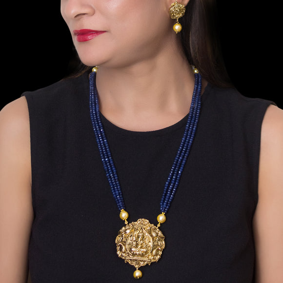 Gold Plated Ganesha Pendant with Blue Multistring Necklace - The Pink Lane