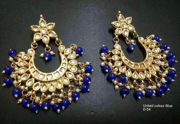 Gold and Blue Jhumkis for Women