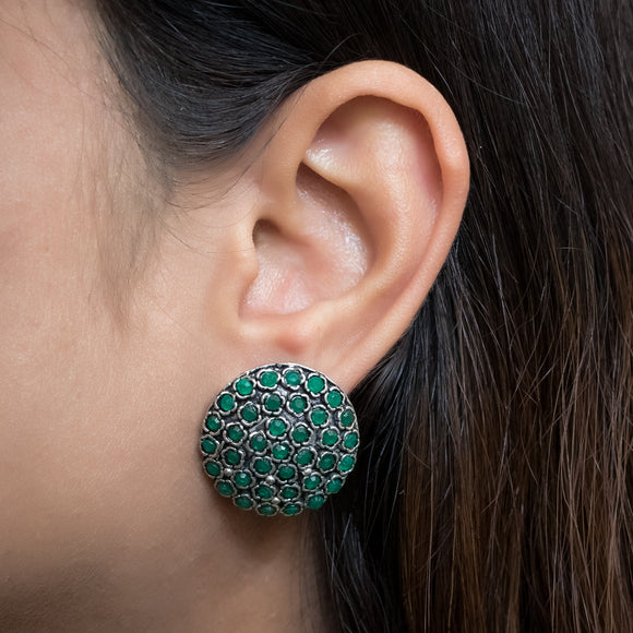 Beautiful Earrings with Green Stones - The Pink Lane